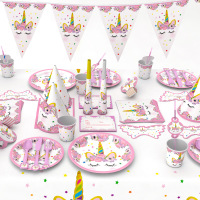 Unicorn Party Kits 1st Birthday Unicorn Paper Cups/Plates/Napkin Birthday Decorations Kids Baby Shower Party Supplies