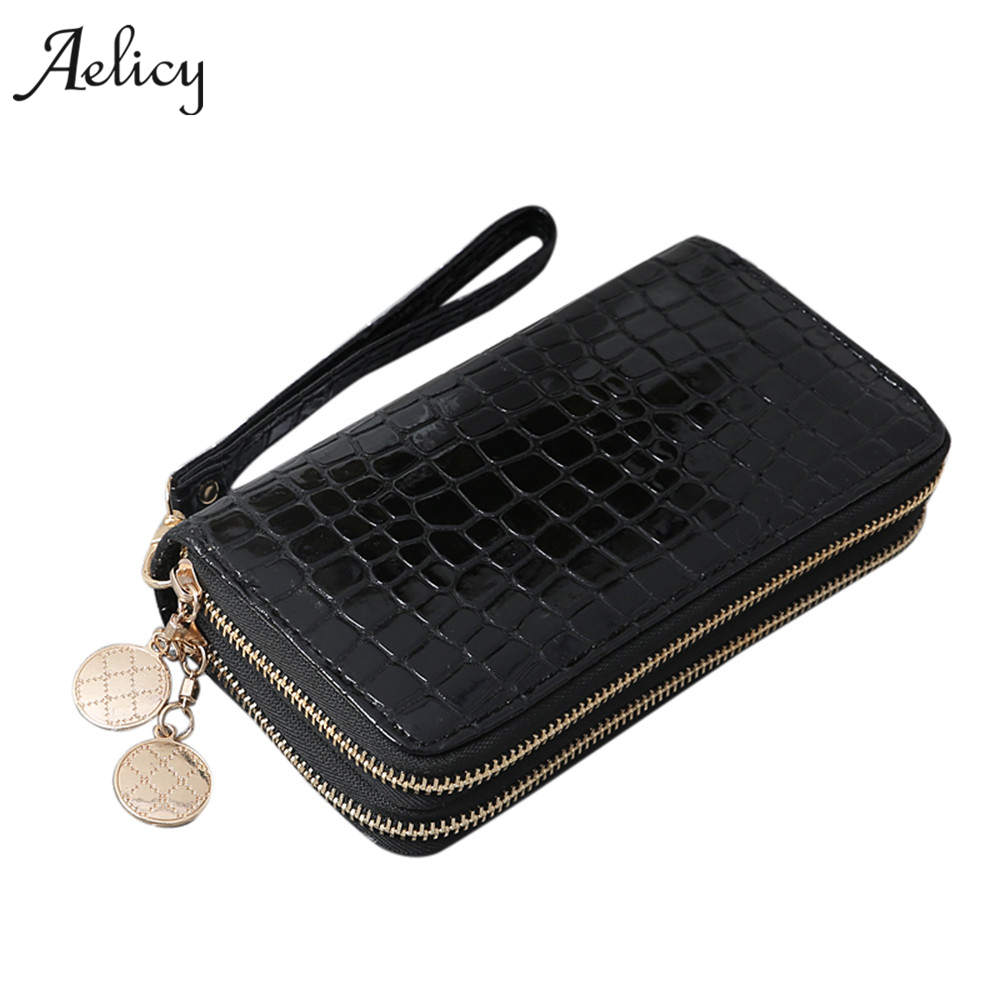 Aelicy Luxury Women Wallets Leather Wallet Double Zipper Day Clutch Large Capacity Wrist ...