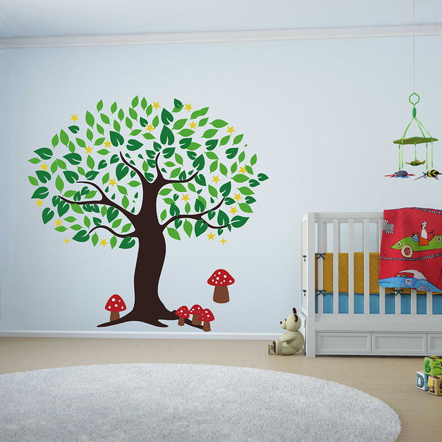 Large tree with mushrooms wall sticker for children room baby nursery tree wall decal custom color