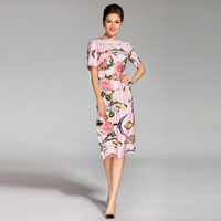 Newest 2017 Luxurious High Quality Spring Summer Pink Printing Rose And Fishes Diamond Button Knee Length
