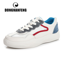 DONGNANFENG Women Female Gril Genuine Leather Mesh White Shoes Flats Platform Sneakers Lace Breathable Vulcanized ML-PG118