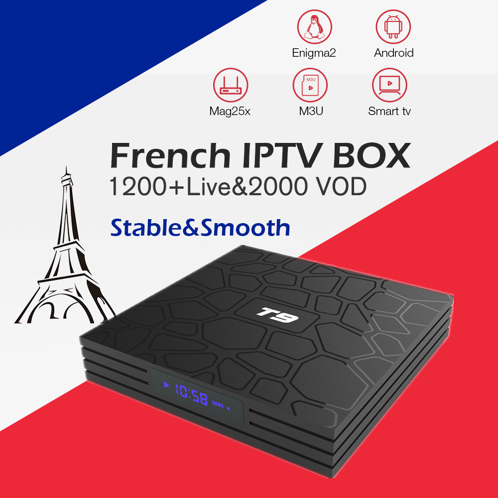 French Gotit IPTV box T9 Android 8.1 TV BOX with 1200+LIVE Arabic France Belgium Morocco IPTV subscription smart tv set top box french iptv box android tv box with 1year 1300 arabic france iptv belgium code live tv