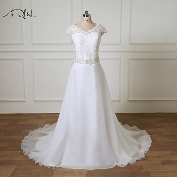 ADLN New Arrival Plus Size Wedding Dresses Cap Sleeve Beaded Belt Organza A-line Open Back Bridal Gowns Vestidos De Novia