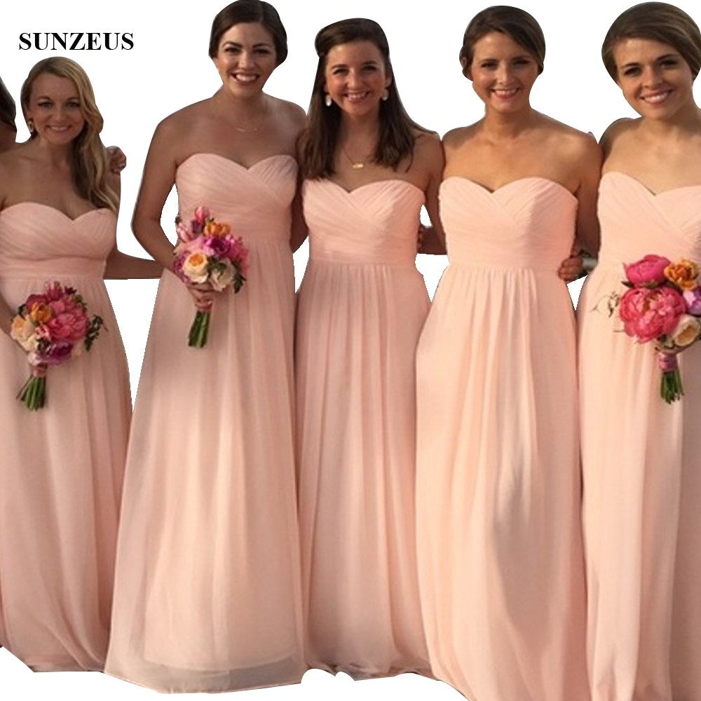 Simple But Elegant Long   Bridesmaid     Dresses   A-line Sweetheart Pleated Chiffon Party   Dress   Wedding vestito cerimonia donna BDS020