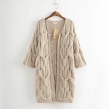 Японский Мори девушка осень новые свободные сплошной твист свитер кардиган Для женщин Повседневное Вязание Куртки женский трикотаж вязаный Пальто для будущих мам 6