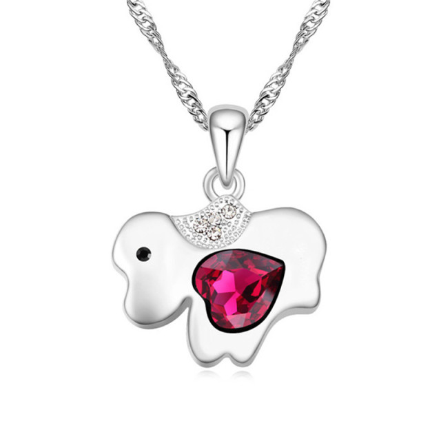 Chinese zodiac series women jewelry fashion cute dog elements chinese zodiac series women jewelry fashion cute dog elements necklaces pendant heart crystal from swarovski nice mozeypictures Image collections