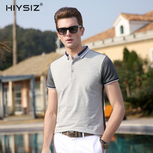 HIYSIZ New Hot Men T-Shirts 2019 Cotton Soft Streetwear Solid Casual T Shirt Turn-down Collar TShirts For Summer ST017