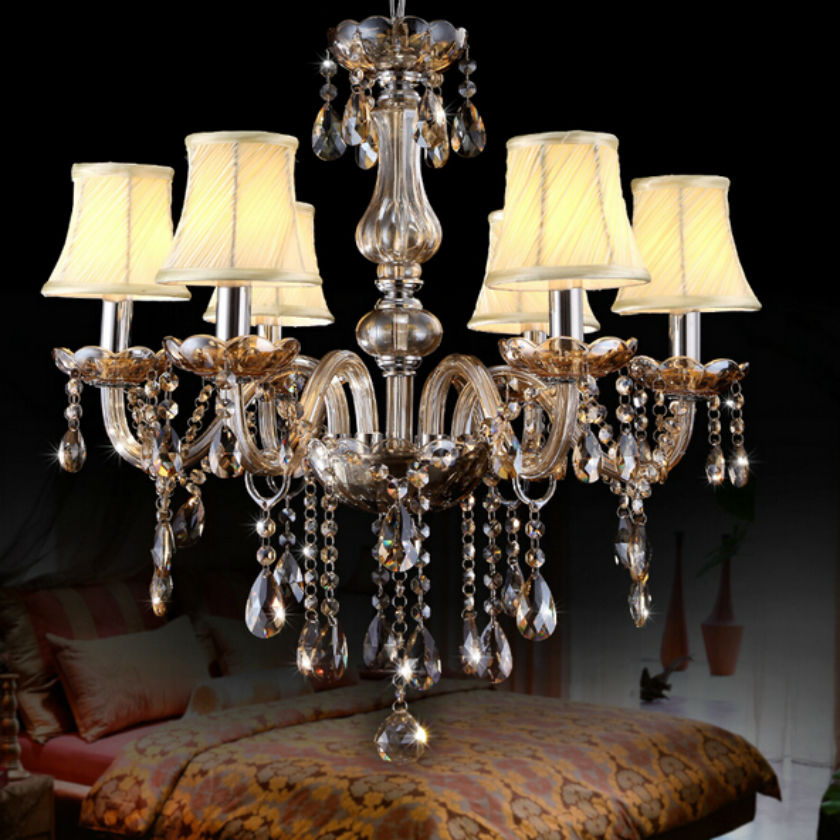 6 lights Vintage  European style  luxury crystal led chandelier /crystal living room led pendant lamps 90-260V indoor bedroom luxurious crystal pendant lamp the european style living room lamps and lanterns creative bedroom crystal chandelier