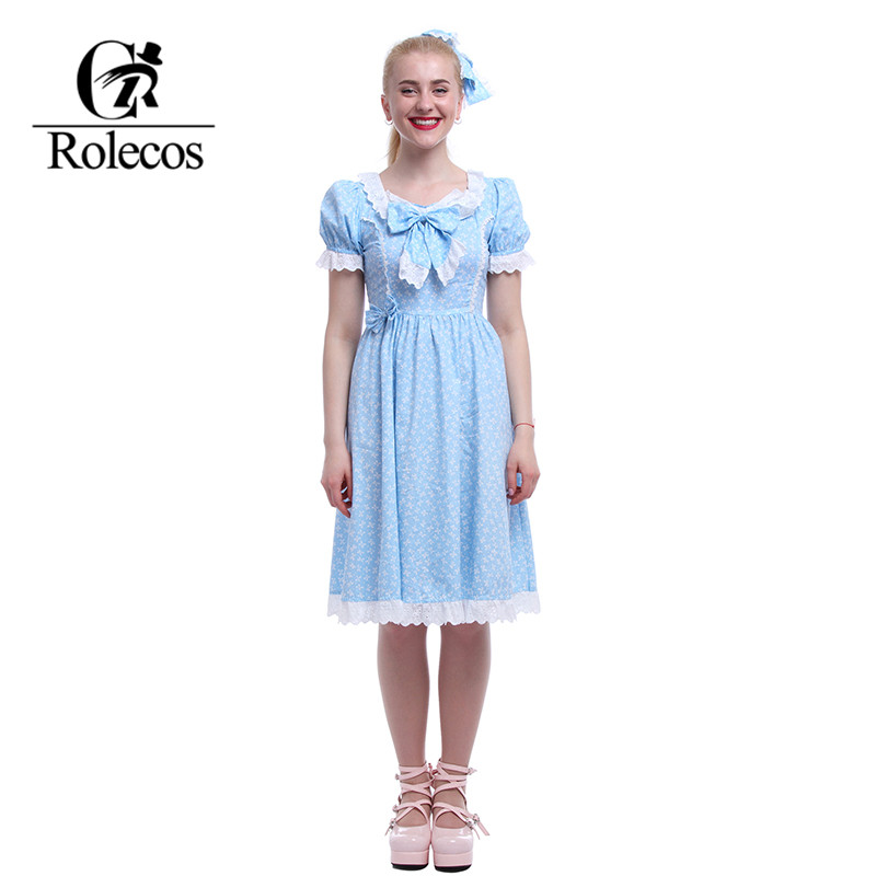 US $22.93 26% OFF|ROLECOS Sweet Lolita Dresses Plus Size The Shining  Cosplay Halloween Costume Twins Cosplay Women Halloween Dress Cute  Summer-in ...