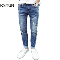 2017 Spring Summer Mens Jeans High Quality Slim Straight Ripped Jeans For Men Soft Distressed Hip