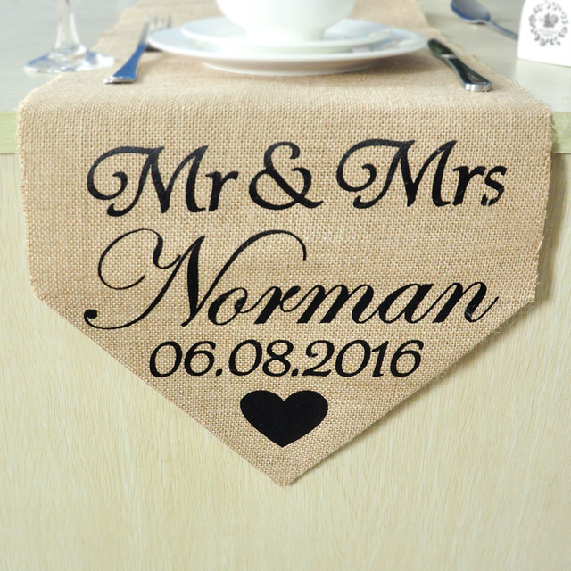 Burlap Table Runner Sweetheart Wedding Gift Personalized
