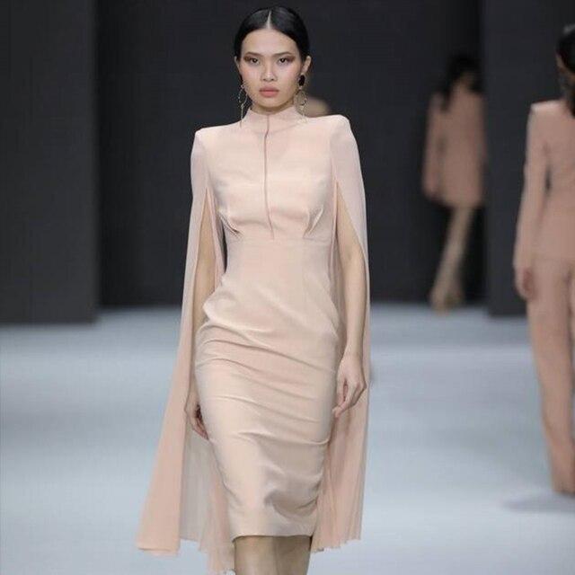 O-Neck Batwing Sleeve Knee Length Luxury Celebrity Runway Dress 2
