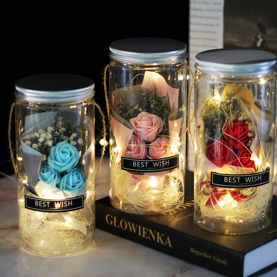 Aromatherapy Soap Rose LED Soap Flower Plastic Bottles Wedding Artificial Flower Valentines Day Mothers Day Christmas Day Gift(China)