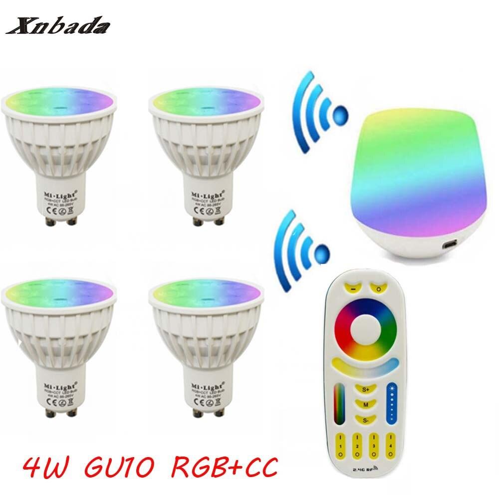 2.4G Gu10 4W Led Lamp AC85-265V, Mi Light RGB+CCT Led bulb light + IBX1 Remote Wifi+RGBW Remote Led light Free shipping keyshare dual bulb night vision led light kit for remote control drones