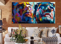 New Hand Painted Modern Abstract Knife Portrait on Canvas Wall Art Home Decor Oil Painting Mural Picture Look at Sky Character