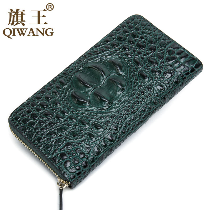 Green Women Wallets Crocodile Head and Tail Wallet Purse for Women Split Leather Alligator Pattern Long Wallet Luxury
