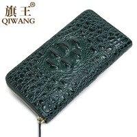 Green Women Wallets Crocodile Head and Tail Wallet Purse for Women Split Leather Alligator Pattern Long Wallet Luxury