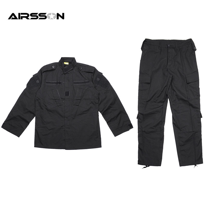 Black Tactical BDU Uniform Field Shirt And Pants Clothes For Hunting And Finshing Men Outdoor Paintball Military Wargame Suit tactical skull face mask military field us active duty m50 gas mask cs field skull mask for hunting paintball