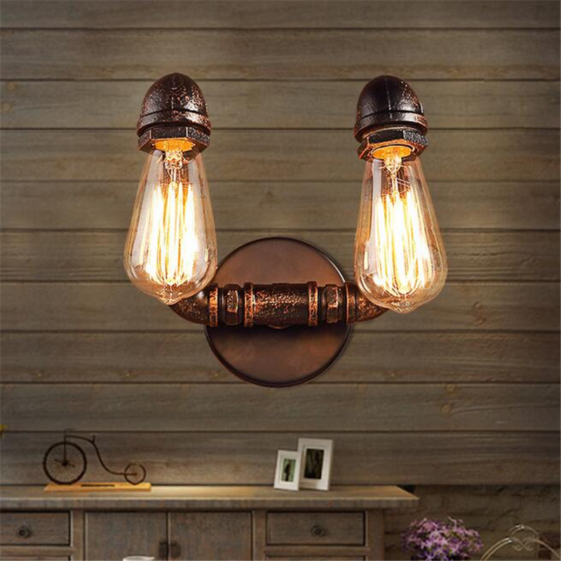 E27 American Rustic Loft Style Vintage Industrial Wall Light Lamp Retro Water Pipe Lamp Edison Wall Sconce купить