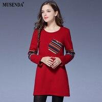 MUSENDA Plus Size Women Colorful Striped Brief Velvet Long T Shirts 2017 Autumn Winter Female Fashion