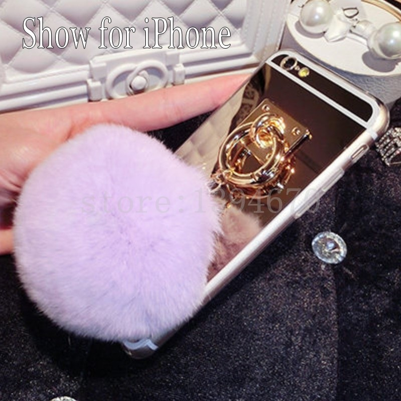 US $2 75 8% OFF|Metal Rope Mirror phone Capa soft fluffy Fake Rabbit Fur  pompom For iPhone 7Plus 8 7 6 6S 4 5 5S 5G SE X S plus 6plus phone case-in