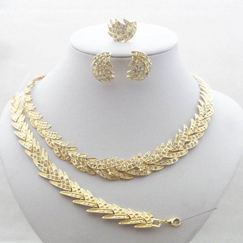 High Quality!!Gold Color Sparkle Crystal Necklace!! Health Wedding Jewelry Sets!!Luxury  ...