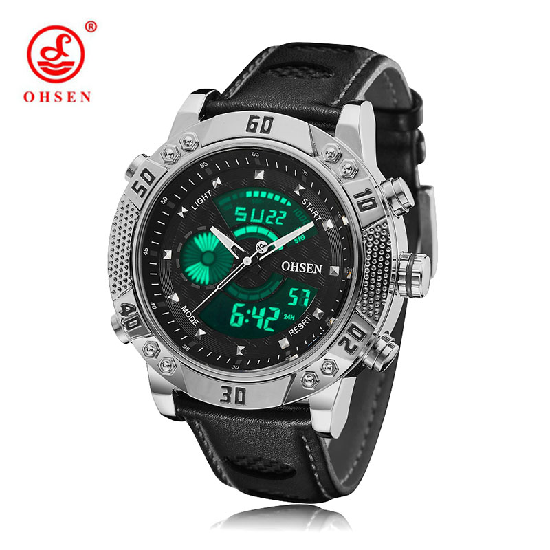OHSEN Brand Mens Watches Black Leather Strap Waterproof Military Sports quartz Watch Analog Digital Relogio Masculino brand weide sports watch for men mens military watches led black genuine leather strap analog digital relogio masculino relojes