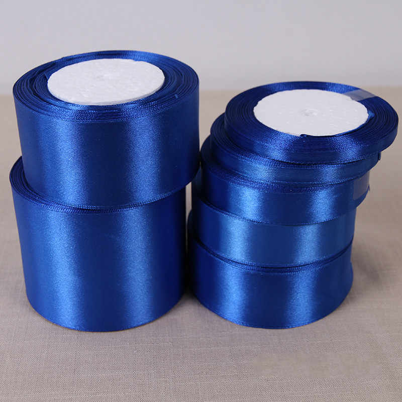 Fitas De Cetim De Seda Azul Royal 6-10-15-20-25-38-50mm Única Face Fitas de Cetim de Casamento do Dia Das Bruxas Natal Fitas De Embrulho
