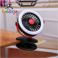 Hot sale personal air circulator mini led fan with clamp and LED light