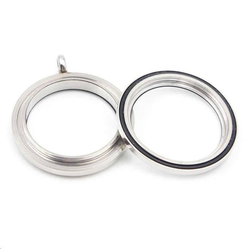 (20mm 25mm 30mm 34mm) สแตนเลสกันน้ำ Locket Silver Shine Locket จี้ Locket