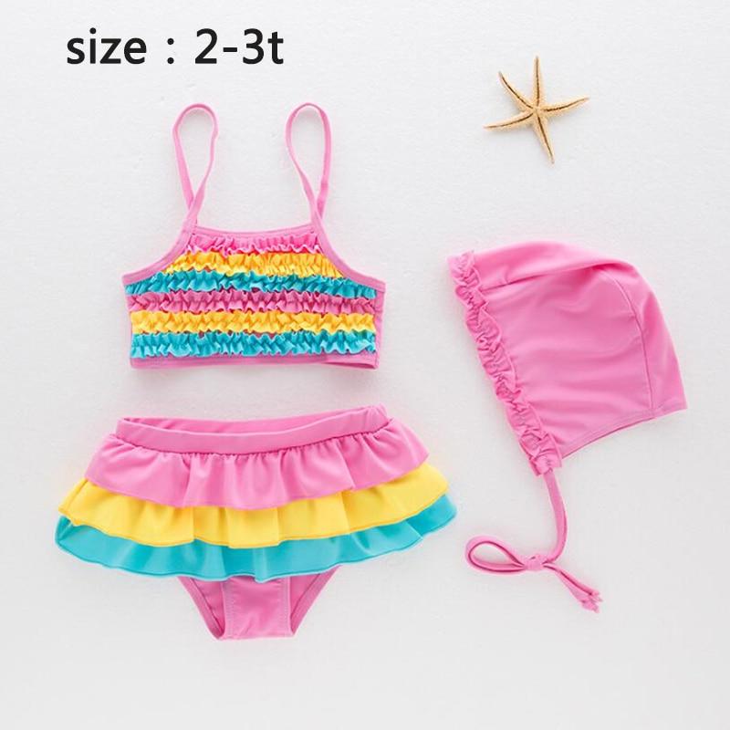 80-100CM My Little Princess Pink Flowers 3 Pcs Swimsuit /& Skirt /& Cap 3T