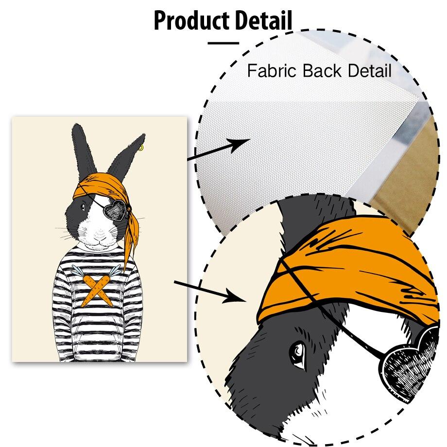 Cizgi filmi maral dovşan iti bayquş canavar divar kağızı sənət - Ev dekoru - Fotoqrafiya 4