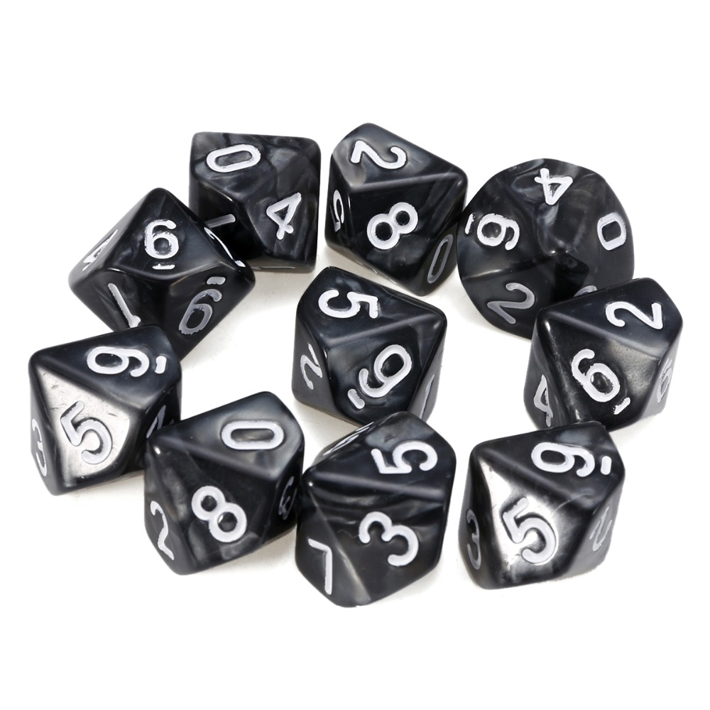 New Hot 10 Pcs Multicolor D10 Sepuluh Permata Dadu Resin Mutiara Permata Dadu Die Transparan (0-9) untuk DDG Set Game RPG