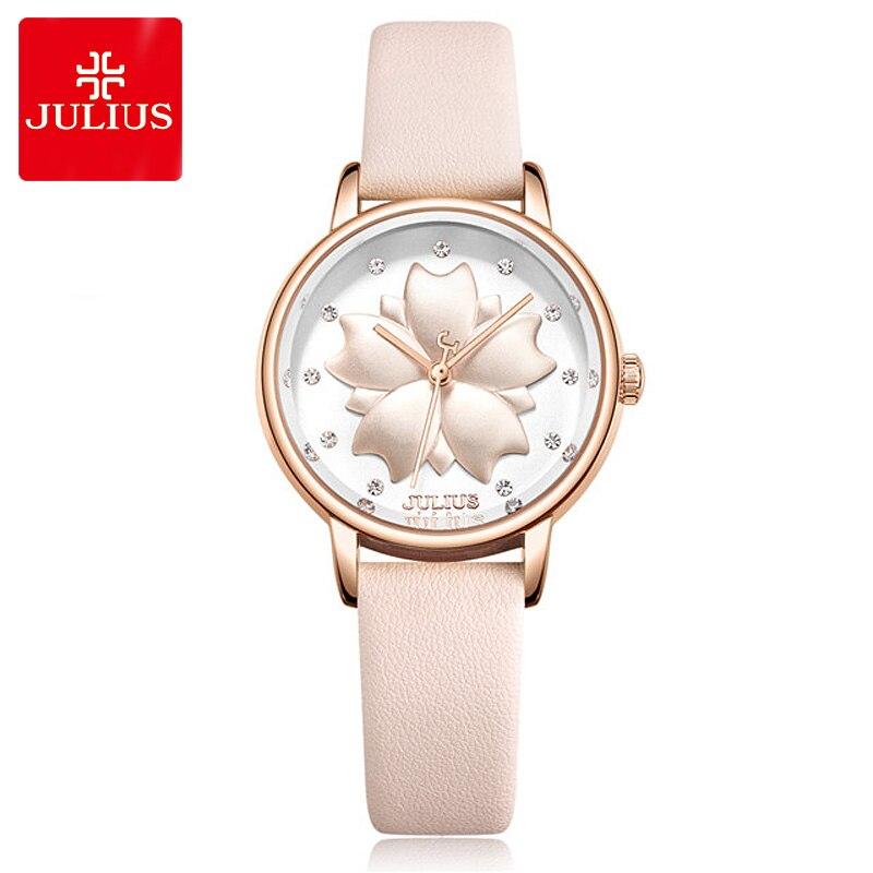 890ecfe1887 Flor de Cerejeira Senhora para Mulheres do Relógio Linda da Miyota Quartz  Horas Moda Relógio Pulseira de Couro Julius Presente Aniversário Menina