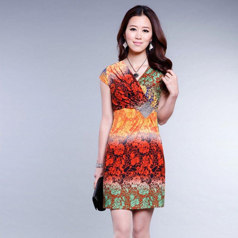 Free shipping 2013 new arrival fashion slim hip sexy leopard print short-sleeve summer  women's dress
