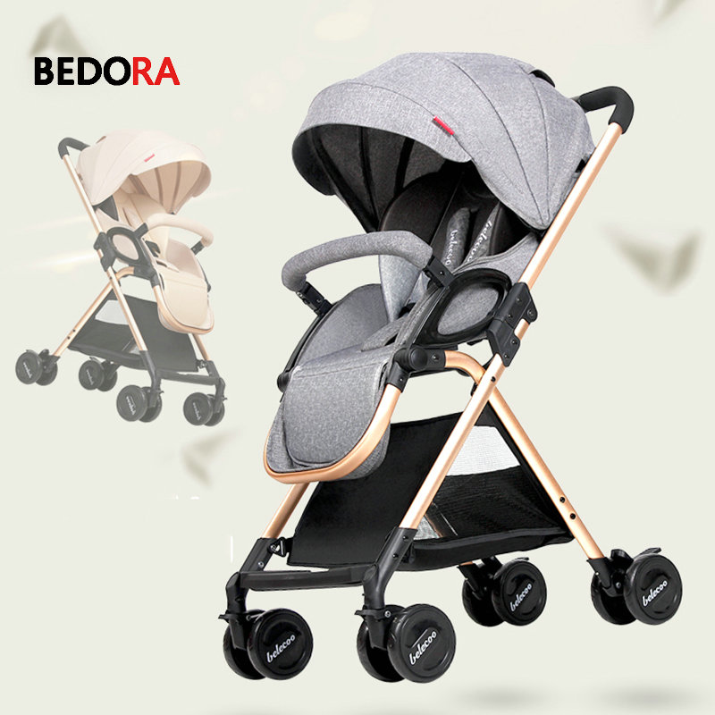все цены на Bedora baby trolley ultra-lightweight folding can sit can lie high landscape umbrella baby strollers summer and winter