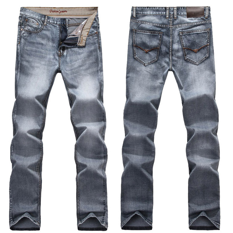 ФОТО High Quality Fashion Winter Men's Jeans Man Jeans 2017 New Long Male Straight Light Grey Retro Style Solid Color Jeans Trousers