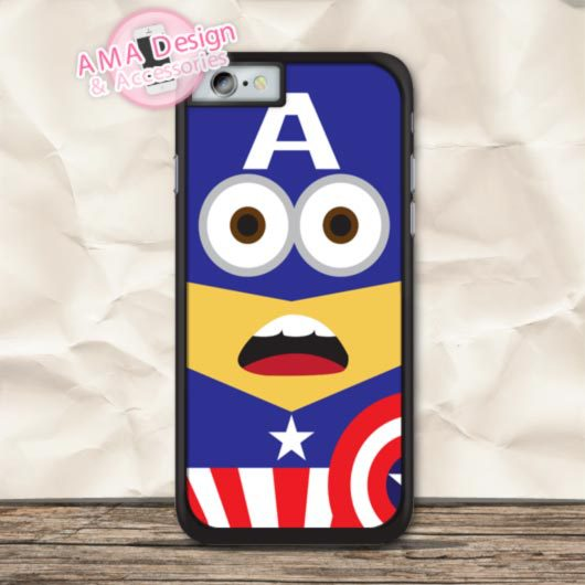Superhero Minioo Captain America Cover Case For iPhone X 8 7 6 6s Plus 5 5s SE 5c 4 4s For iPod Touch