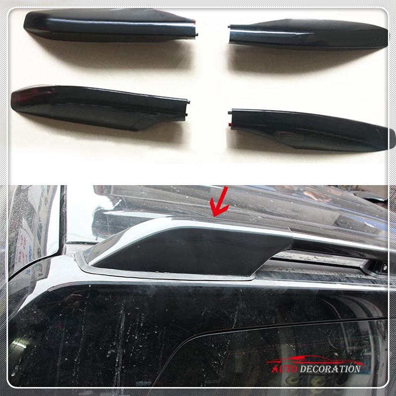 For Toyota Prado Fj120 2003-2009 Black Roof Rack Side Rails Bar Cover Cap Parts Car styling Exterior Accessories Cover