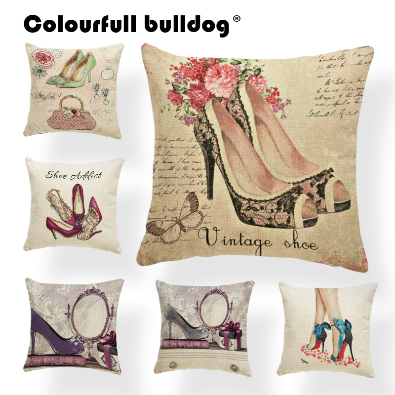 High Heels Cushion Flower Pillow Cushion Case Butterfly School Home Decor Accessories Throw Pillow Cushion Pattern Square Linen