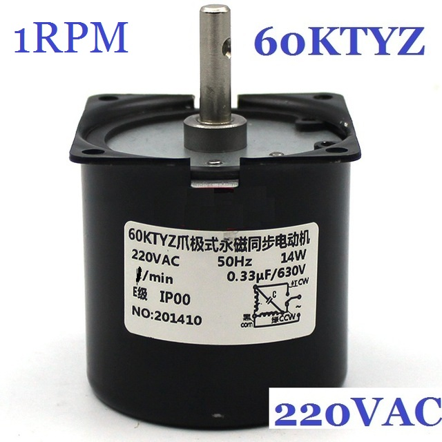 60KTYZ <font><b>1RPM</b></font> (actual speed:1.2RPM) Low Noise Gearbox Electric <font><b>Motor</b></font> Barbecue High Torque Low Speed 220v Synchronous AC <font><b>Motor</b></font> image
