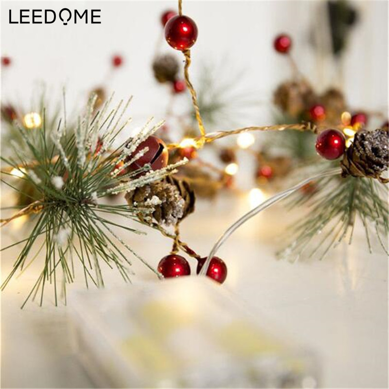 Leedome LED Christmas String Light Pine Cone Star Berry Fairy Light Holiday Wedding Room Garland Decoration Battery String Lamp