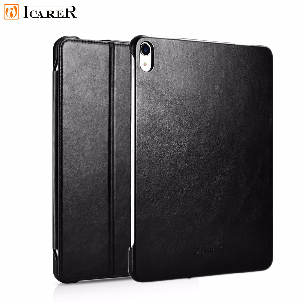 """Icarer Genuine Leather Case For iPad pro 12.9""""(2018) Retro Leather Flip Cover For iPad Pro 12.9 inch High Quality Business Case"""