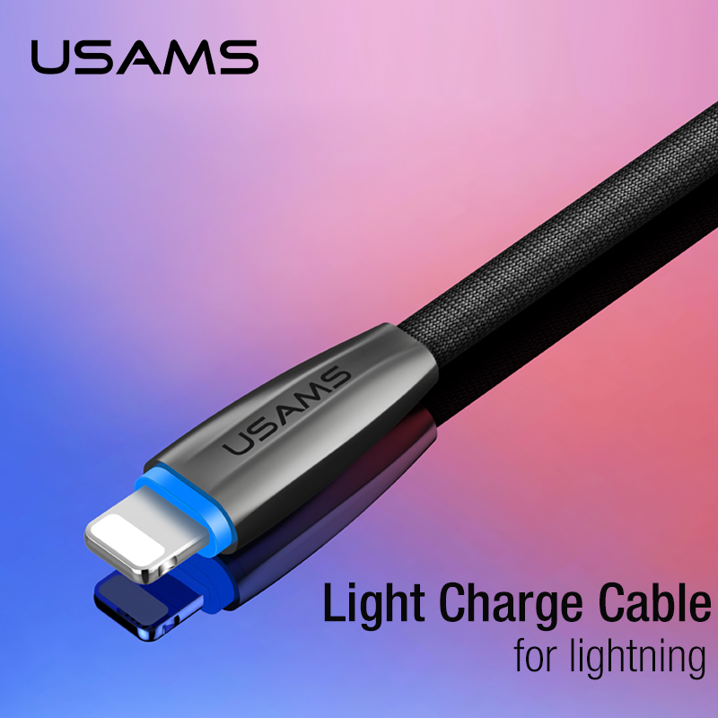USAMS for iPhone Charge Cable Lighting Cable Mobile Phone Cable for Huawei Samsung Xiaomi Intelligent Light 5V/2A 1.2M Nylon
