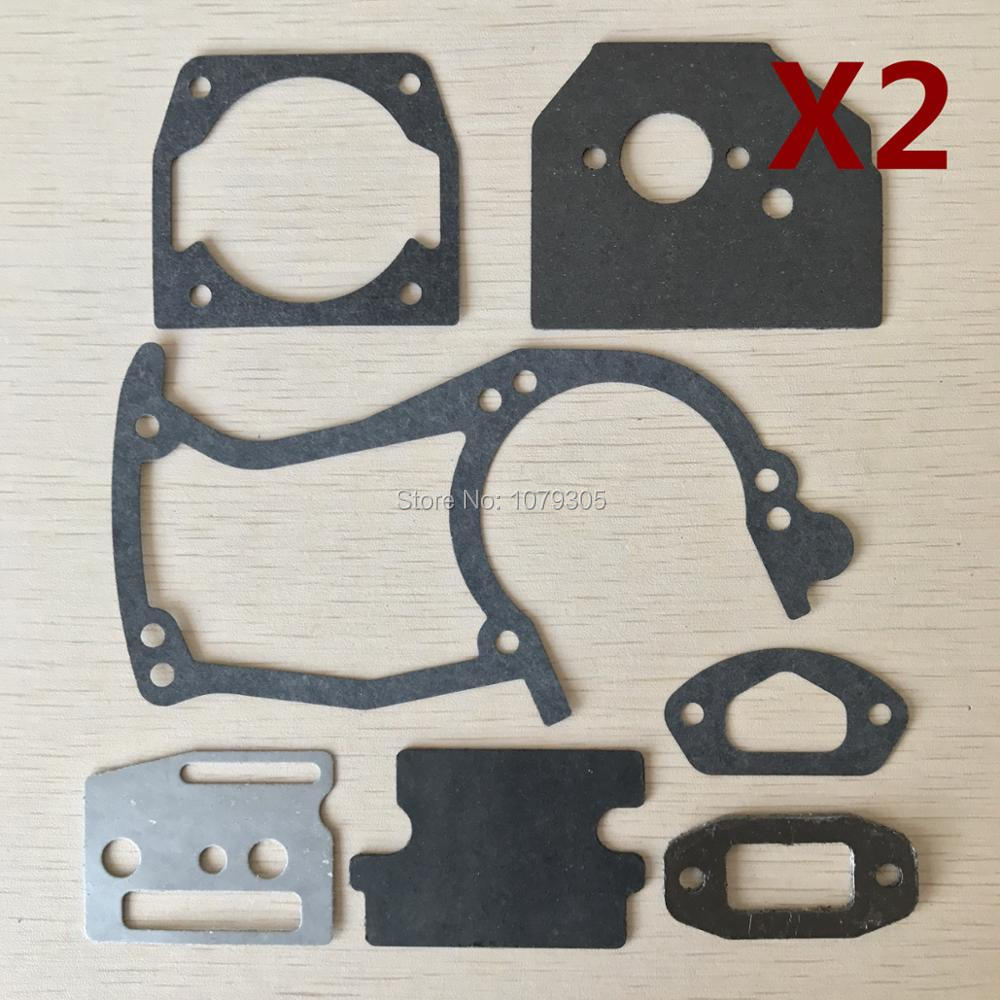 2 Sets 45cc 52cc 58cc Chainsaw Paper Gaskets Full Set