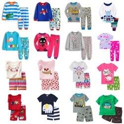 Детский hooyi Пижама для мальчиков и девочек, одежда для сна, спальные костюмы детские футболки и штаны детская пижама 100% хлопок топы, брюки, до...
