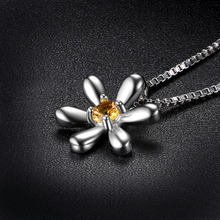 JewelryPalace Round 0.14ct Created Orange Sapphire Flower Pendant Fashion 925 Sterling Silver Fine Jewelry Not Include the Chain