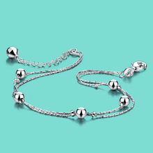 Concise style women's Solid silver chains 925 sterling silver anklets summer popular foot jewelry for woman birthday present
