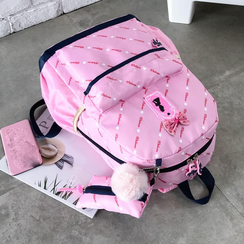 Women Bow Canvas Three-piece School Bag 29