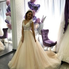 LANSHITINA Wedding Dresses Dress 2019 Length Cap Sleeves